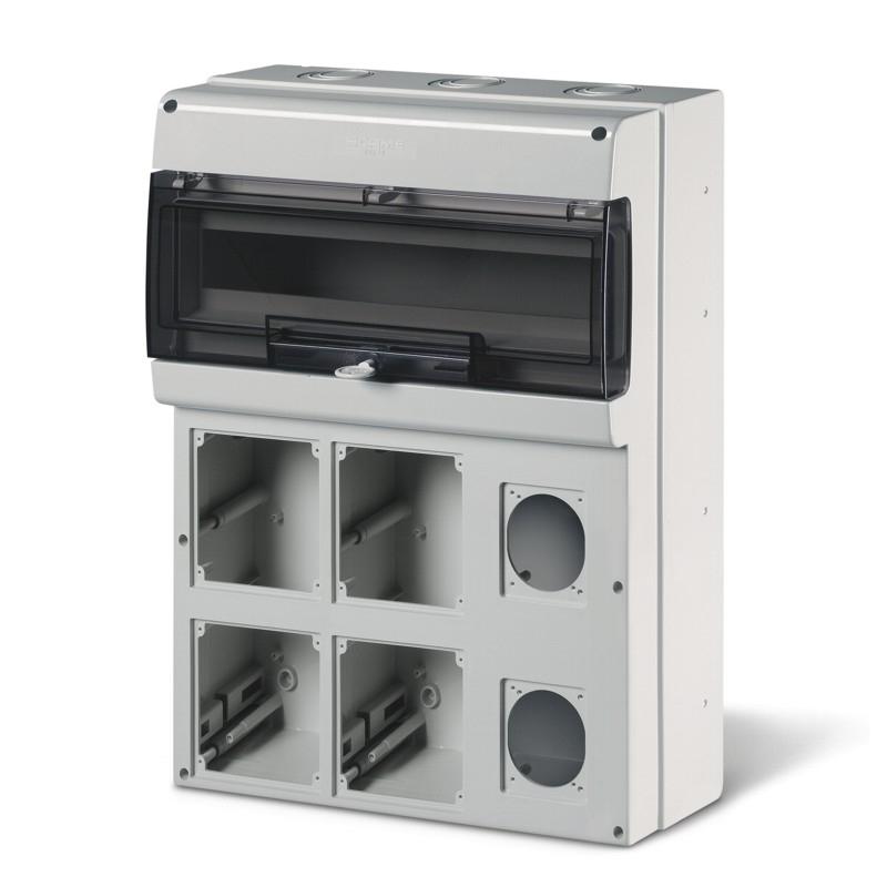 SCAME 672.5622 - zásuvková skříň DOMINO IP66 - 24DIN, 6x otvor