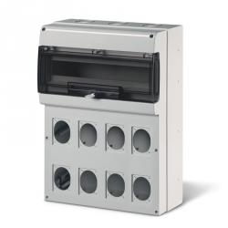 SCAME 672.5822 - zásuvková skříň DOMINO IP66 - 24DIN, 8x otvor