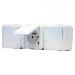 134.22931.BB - Trojzásuvka s plným víčkem IP44 bílá