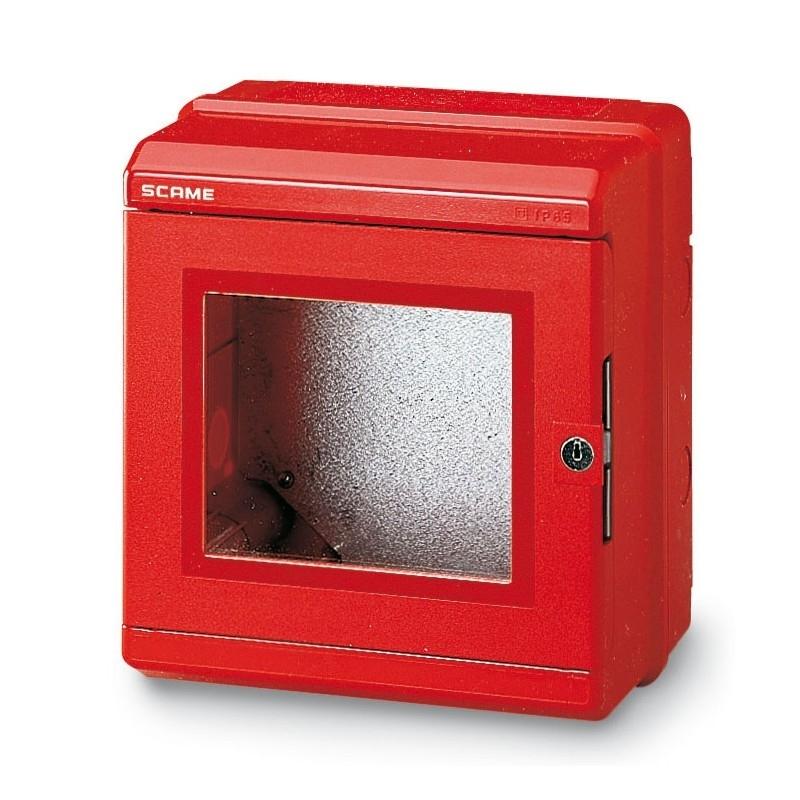676.35205 - Nástěnný rozvaděč červený, IP55, montážní panel
