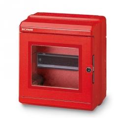 676.35201 - Nástěnný rozvaděč červený, IP55, 6 modulů DIN