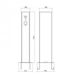 Pilířová nabíjecí stanice CA 44kW s kabelem a konektorem TYP-2