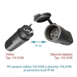SCAME 110.3150 Zásuvka na kabel 230V/16A, gumová IP44