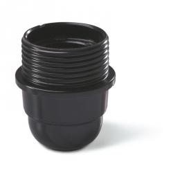 190.6000FCG - Objímka plastová E27 se závitem a přírubou, černá