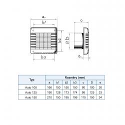 Auto 125 - ventilátor s automatickou žaluzií v základním provedení