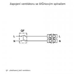 Bravo 100S - tenký ventilátor do koupelny s tahovým spínačem