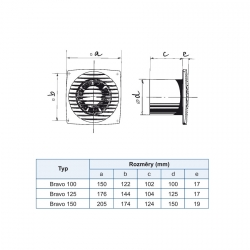 Bravo 100T - tenký ventilátor do koupelny s časovačem