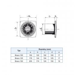 Bravo 125T - tenký ventilátor do koupelny s časovačem