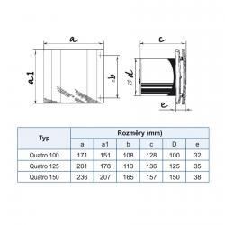 Quatro 100S - moderní koupelnový ventilátor s tahovým spínačem