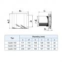 Quatro 150 - moderní koupelnový ventilátor v základním provedení