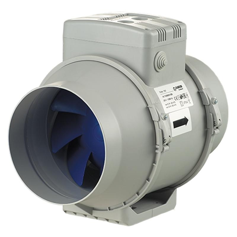 Turbo E 125T - dvourychlostní průmyslový potrubní ventilátor s časovačem