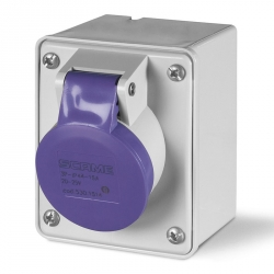 530.1610 Zásuvka 24V/16A dvoupólová nástěnná IEC309, rovný box