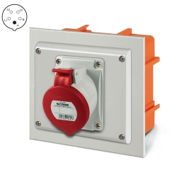 EZV1657 - Zásuvka do zdi 400V/16A pětipólová