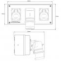EAD.3227 - Dvojcestný adaptér 400V/32A/5p, IP44