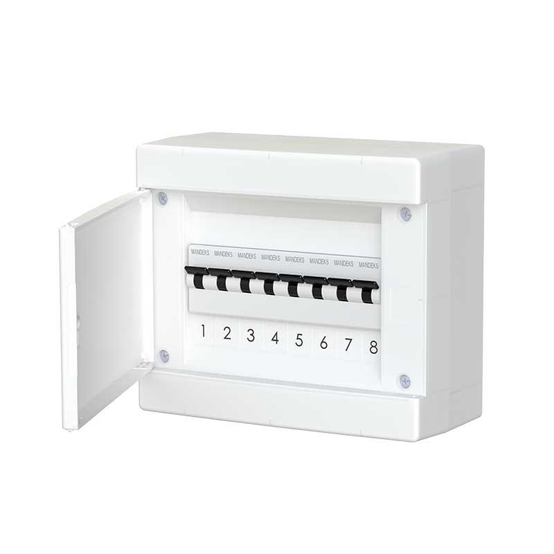 678.1008.BW Nástěnná rozvodnice 8 modulů, bíle dveře, IP40