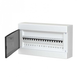 678.1018.BT Nástěnná rozvodnice 18 modulů, transparentní dveře, IP40