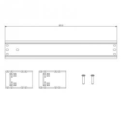 Lišta 12 DIN s držáky pro rozvaděče DOMINO IP66 rozměry