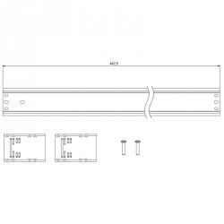 Lišta 24 DIN s držáky pro rozvaděče DOMINO IP66 rozměry