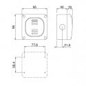 137.5222 - vodotěsný spínač č.5B(6+6) 20A s krabicí, série Protecta IP66