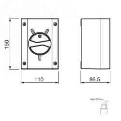 Vačkový spínač 32A 3P IP66/IP69 - rozměry