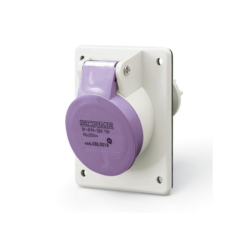 430.1615 Zásuvka SCAME 24V/16A dvoupólová vestavná IEC309, šikmá