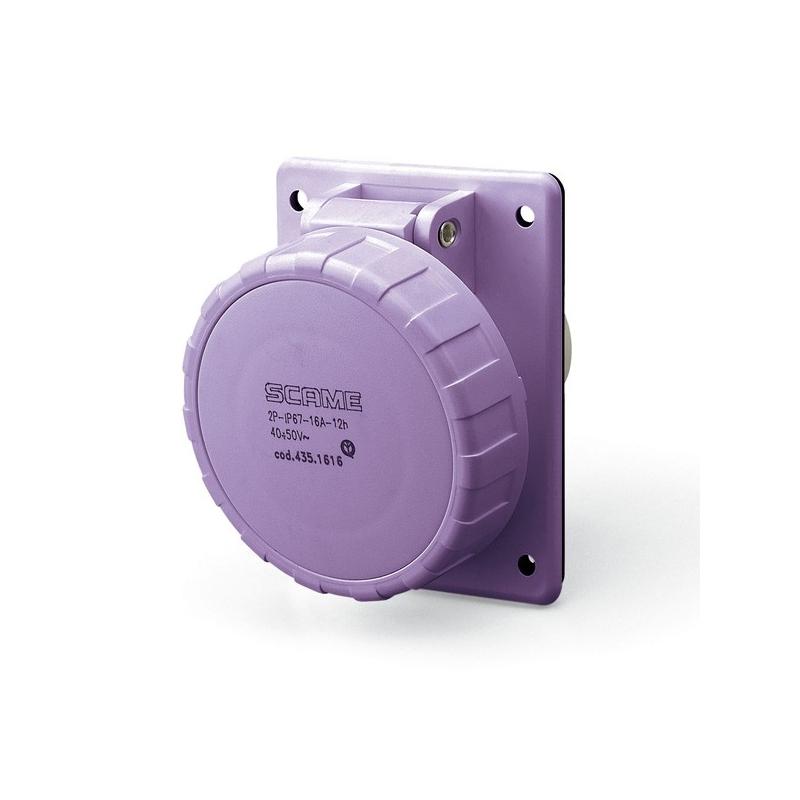 435.1615 Zásuvka SCAME 24V/16A dvoupólová vestavná IEC309, šikmá