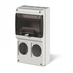 672.2300 - zásuvková skříň DOMINO IP66 - 8 DIN, 2x otvor pro 16A OPTIMA